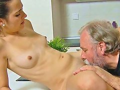 Free Porn Old Fat Guy Eats And Fucks Tight Pussy Of Skinny Teen Lora On The Kitchen Table