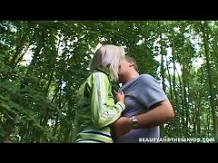Free Porn Teen Banged Doggystyle To Strong Bliss By An Elderly Man In The Forest