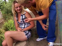 Free Porn Light Haired Slut Does Not Mind Fucking Thick And Tasty Cock Outdoors