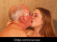 Free Porn Old Man Fucks Young Blonde Masseuse Cums In Her Mouth