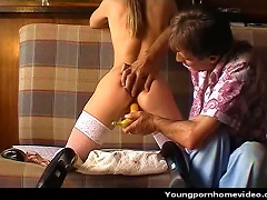 Free Porn Lovely Teen Fucked With A Banana By An Older Dude.