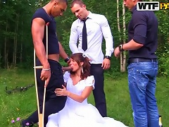 Free Porn Interracial Outdoors Gangbang For Hot Newlywed Bride