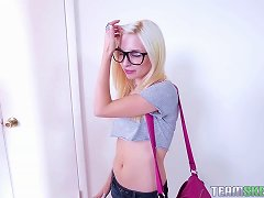 Free Porn Blonde Teen With Glasses Gets Her Cute, Nerdy, Pussy Plowed