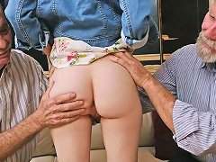 Free Porn Petite Redhead Fondeled By Pervy Old Men