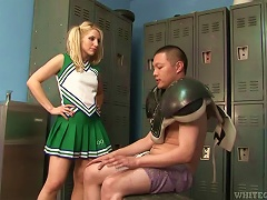Free Porn Blonde Cheerleader Ashley Fires Gives A  In The Locker Room