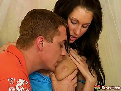 Free Porn This Marvelous Brunette Teen Whines In Pleasure As She Gets Her Shaved Muff Stuffed