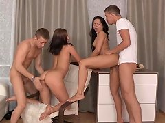 Free Porn Sexy Russian Coeds In Hot Foursome Action