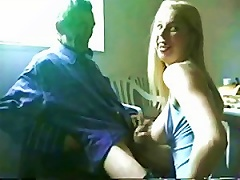 Free Porn Pervert Blonde Teen Jerking Off A Very Old Happy Man