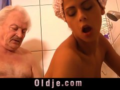 Free Porn Grandpa Fucking Horny Hot Creole Teen Under Shower