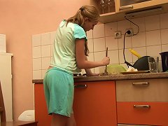 Free Porn Petite Jessica Neight Plays With Her Shaved Pussy In The Kitchen