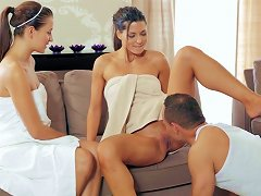 Free Porn Naughty Threesome Sex At The Spa With Two Girls