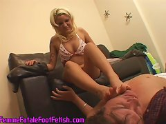 Free Porn Hot Sexy Blonde Pleasuring A Young Man With Her Long Legs