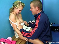 Free Porn Sporty Blonde Enjoys Steamy Locker Room Sex After Training