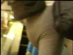 Free Porn Sexy Teen Striped Dress At The Mall