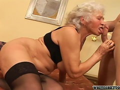 Free Porn Horny Grandma Fucks A Younger Guy In A Kinky Clip!