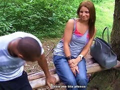 Free Porn Two Dicks Fucking An 18-year-old In Outdoors Mmf  Threesome