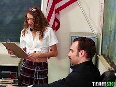 Free Porn Slender Teen Girl In Uniform Bends Over For An Older Man