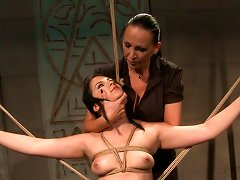 Free Porn Playful Brunette Teen Gets Her Naked Crucified Body Stroked By Domina