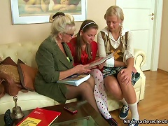 Free Porn Mature Blonde Teacher Giving A Lesson To Two Teens In Lesbian Sex