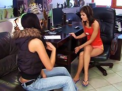 Free Porn Classy And Cute Lesbians Pleasing Each Other With A Smooth Dildo In The Office