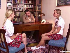 Free Porn Two Blonde Teens In Plaid Skirts Fuck A Teacher