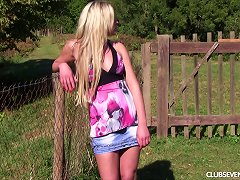 Free Porn Blonde In The Backyard Sits In The Grass And Masturbates