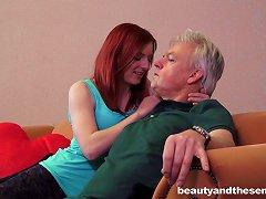 Free Porn Horny Grandpa Fucks The Cunt Of A Cute Redhead