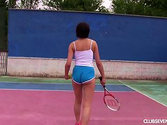 Free Porn Tennis Girl Fingers Her Wet Pussy While Out On The Court