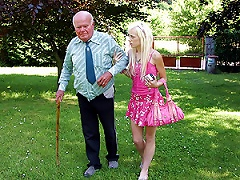 Free Porn Slutty Blonde Teen Sucks And Fucks An Old Fart's Ugly Cock Outdoors