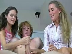 Free Porn Teen And Milf Decide To Jerk His Cock For Hot Cum