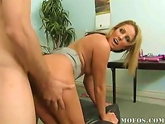Free Porn Gorgeous Blonde Bends Over And Takes It From Behind