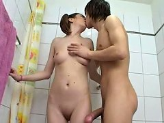 Free Porn Throat And Pussy Fucking For Pigtailed Russian Teen In The Bathroom