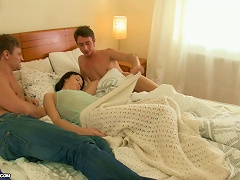 Free Porn Brunette Wakes Up With Two Guys On Her Bed Ready To Double Penetrate