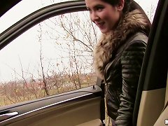 Free Porn Leather Jacket Teen Blows Him In The Car And Fucks In Pov
