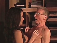 Free Porn Teen Fucks Old Grandpa Blows His Dick And Eats Cum
