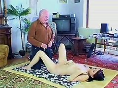 Free Porn Slutty Brunette Teen Wanks And Sucks An Old Man's Cock