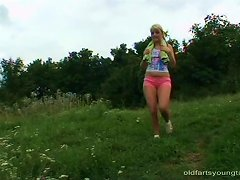 Free Porn An Old Fart Screws A Delightful Blonde Teen Outdoors