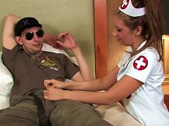 Free Porn Kinky And Hot Slutty Nurse Blows Dick Of A Soldier For Cumshot