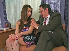 Free Porn Adorable Brunette Teen In Knee Socks Is Lured By Her Aged Teacher
