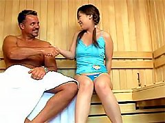 Free Porn Sexy  Teen Gets Her   Fucked And Jizzed On In A Sauna
