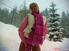 Free Porn Adorable Blonde Wore A Skirt In The Snow To Fuck Her Pussy