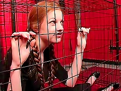 Free Porn Teen Redhead In Pigtails Caged By Mistress