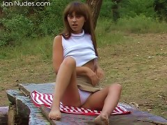 Free Porn Teen Outdoors On A Wood Table Masturbating Her Hot Pussy