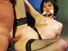 Free Porn Sexy Chick With Gag In Her Mouth Gets Her Shaved Pink Muff Pounded Hard