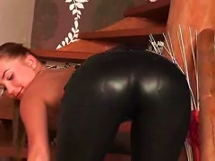 Free Porn Beautiful  Girl In Leather Pants Teases