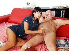 Free Porn Insanely Hot Latina Teen Sucks And Rides A Horny Old Man's Cock