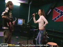 Free Porn Band Soloist Sucks Guitar Player's Dick During The Rehearsal