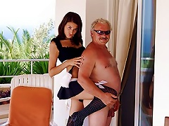 Free Porn Sexy Brunette Teen Sucks And Fucks An Old Man's Cock In A Maid Uniform