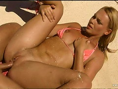 Free Porn Sexy  Blonde Teens Getting Fucked In The Beach In  Threesome