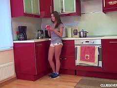 Free Porn Perky Boobs Teen Sits On The Kitchen Counter And Toys Her Cunt